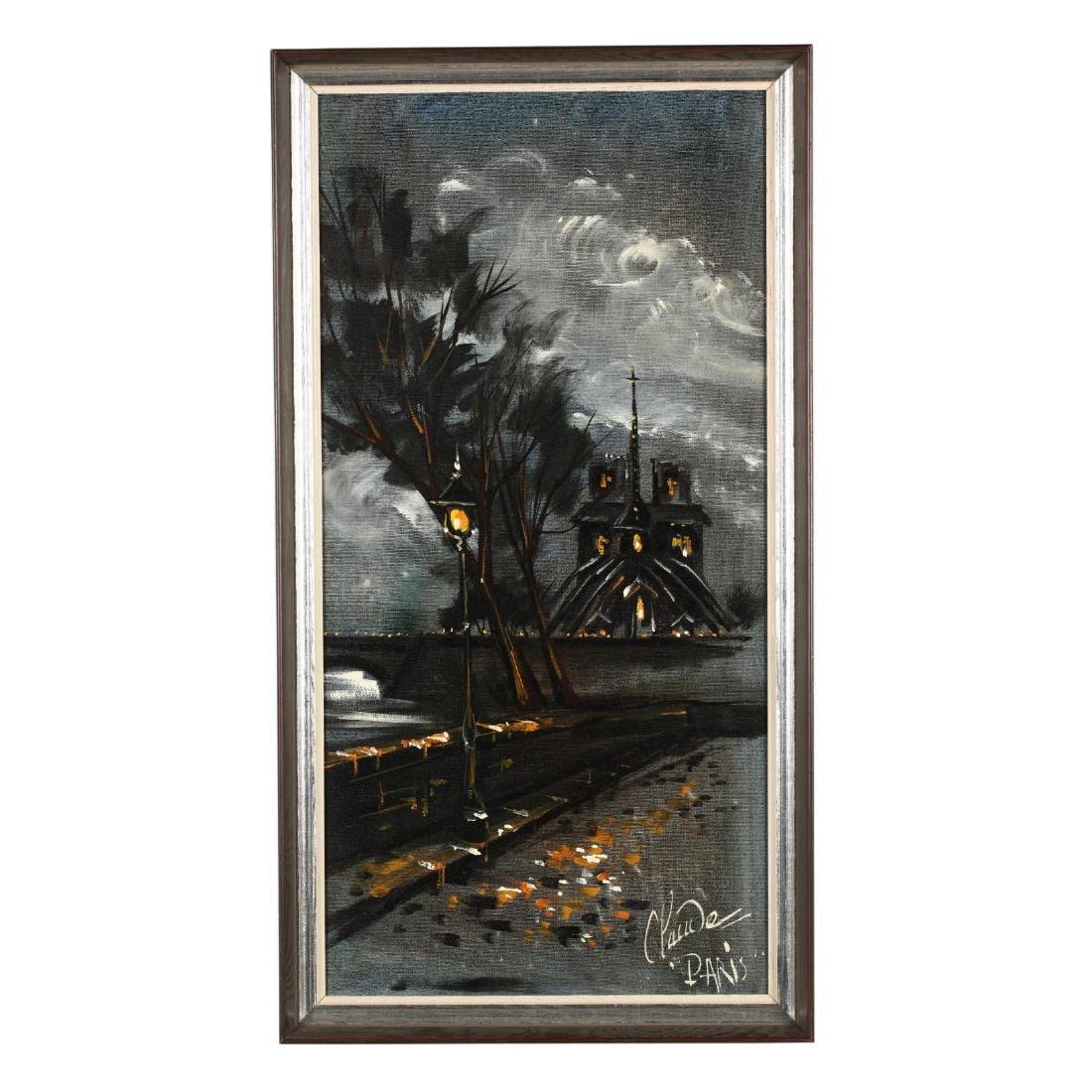 A Vintage Painting of Notre-Dame de Paris at Night,