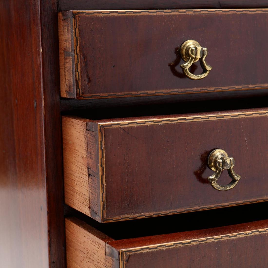 George III Inlaid Miniature Chest and Lidded Box - 5