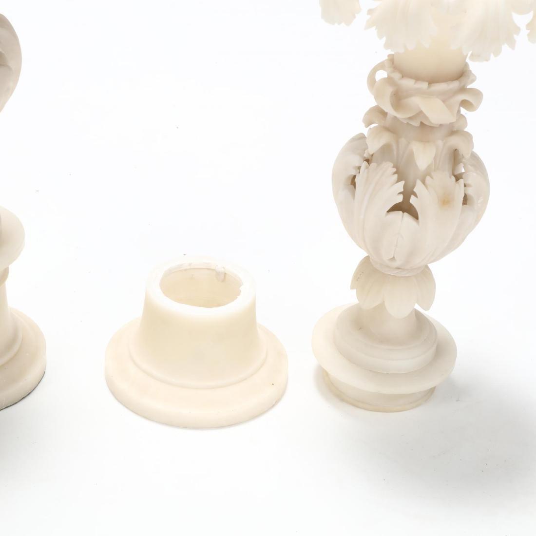 Pair of Carved Alabaster Garnitures - 2