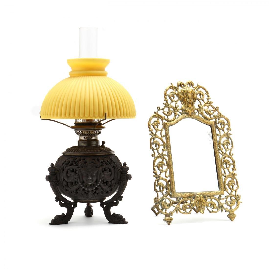 Renaissance Revival Mirror and Oil Lamp