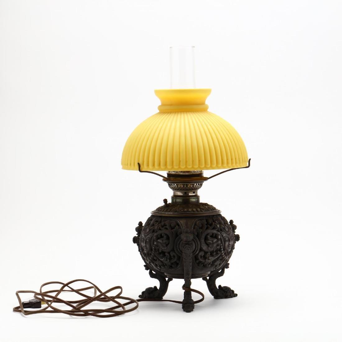 Renaissance Revival Mirror and Oil Lamp - 4