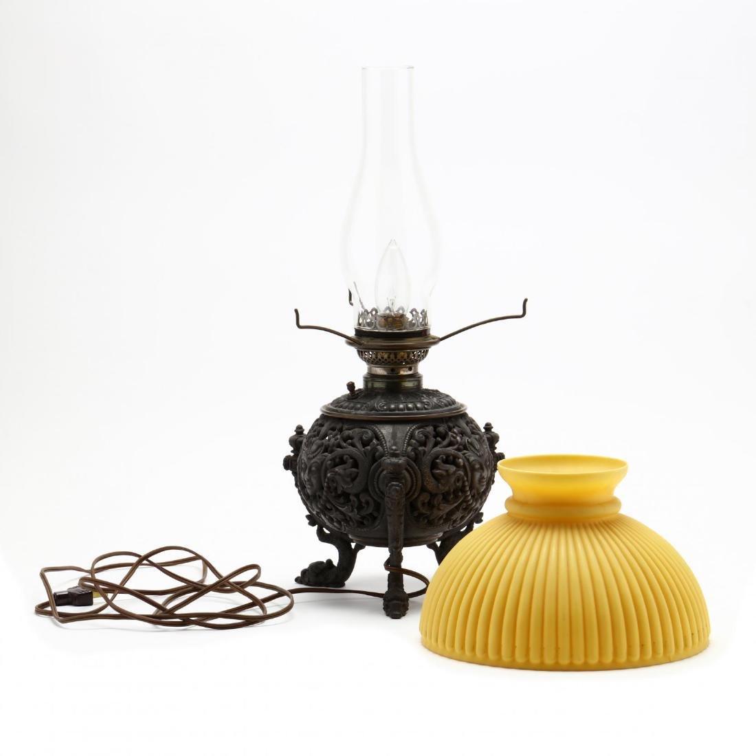 Renaissance Revival Mirror and Oil Lamp - 7