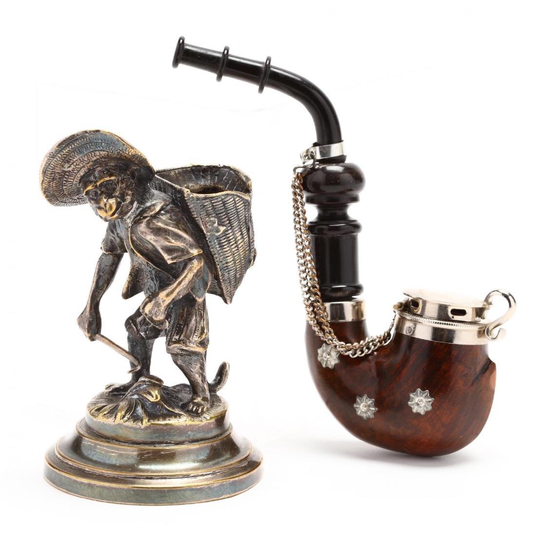 Antique and Vintage Gentleman's Pipe & Match Holder