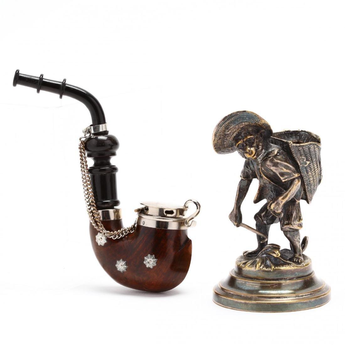 Antique and Vintage Gentleman's Pipe & Match Holder - 2