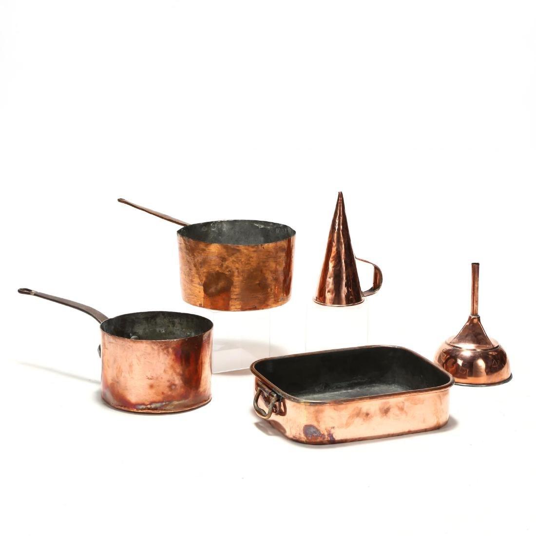 Five Antique Copper Kitchen Accessories