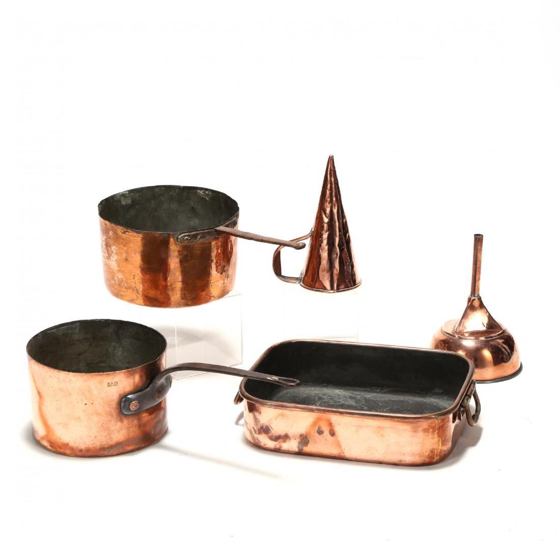 Five Antique Copper Kitchen Accessories - 2