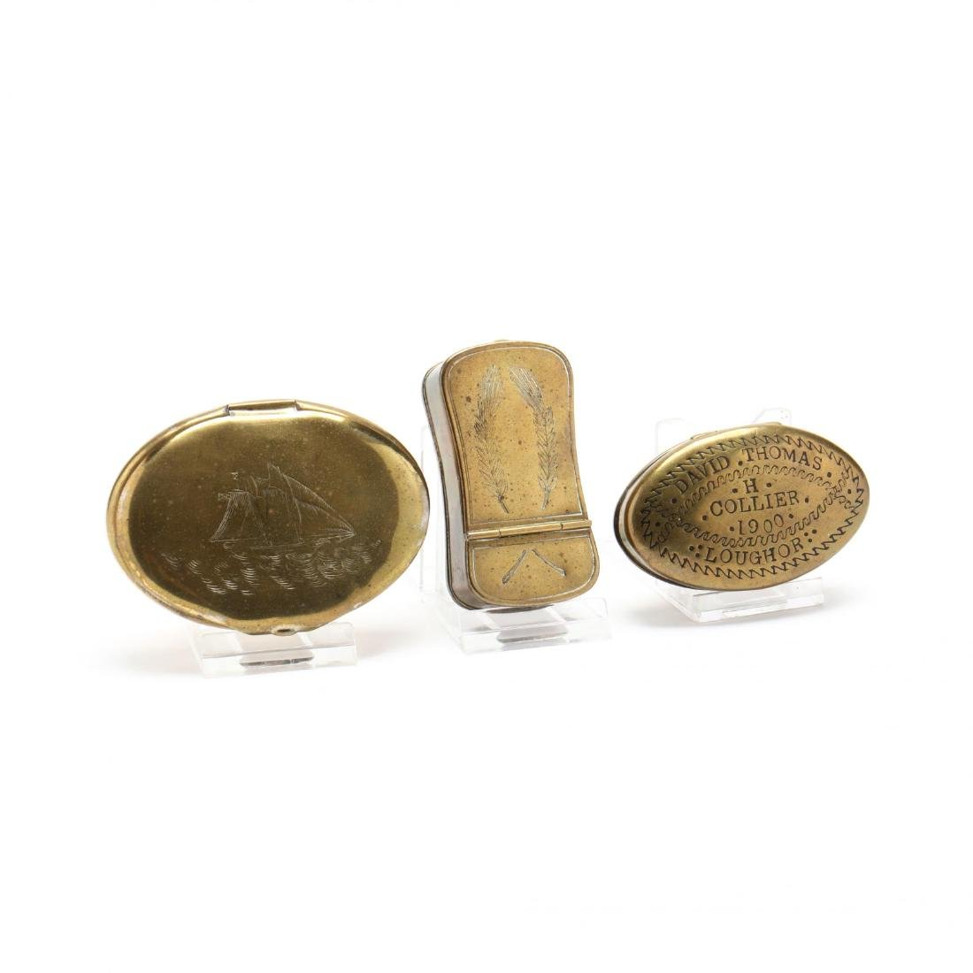 Three Antique Brass Snuff Boxes
