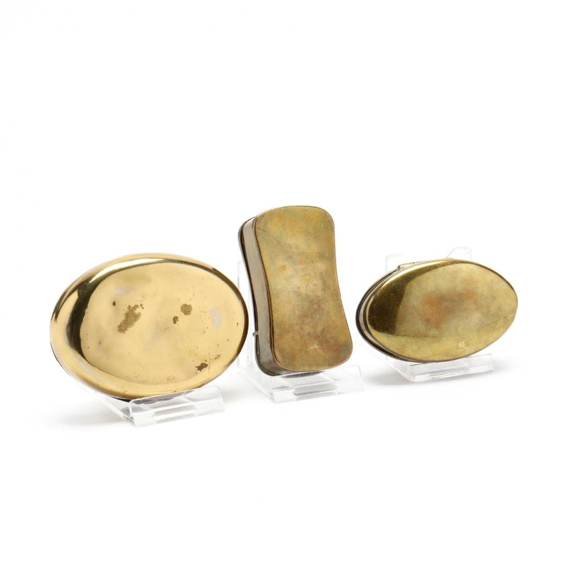 Three Antique Brass Snuff Boxes - 3