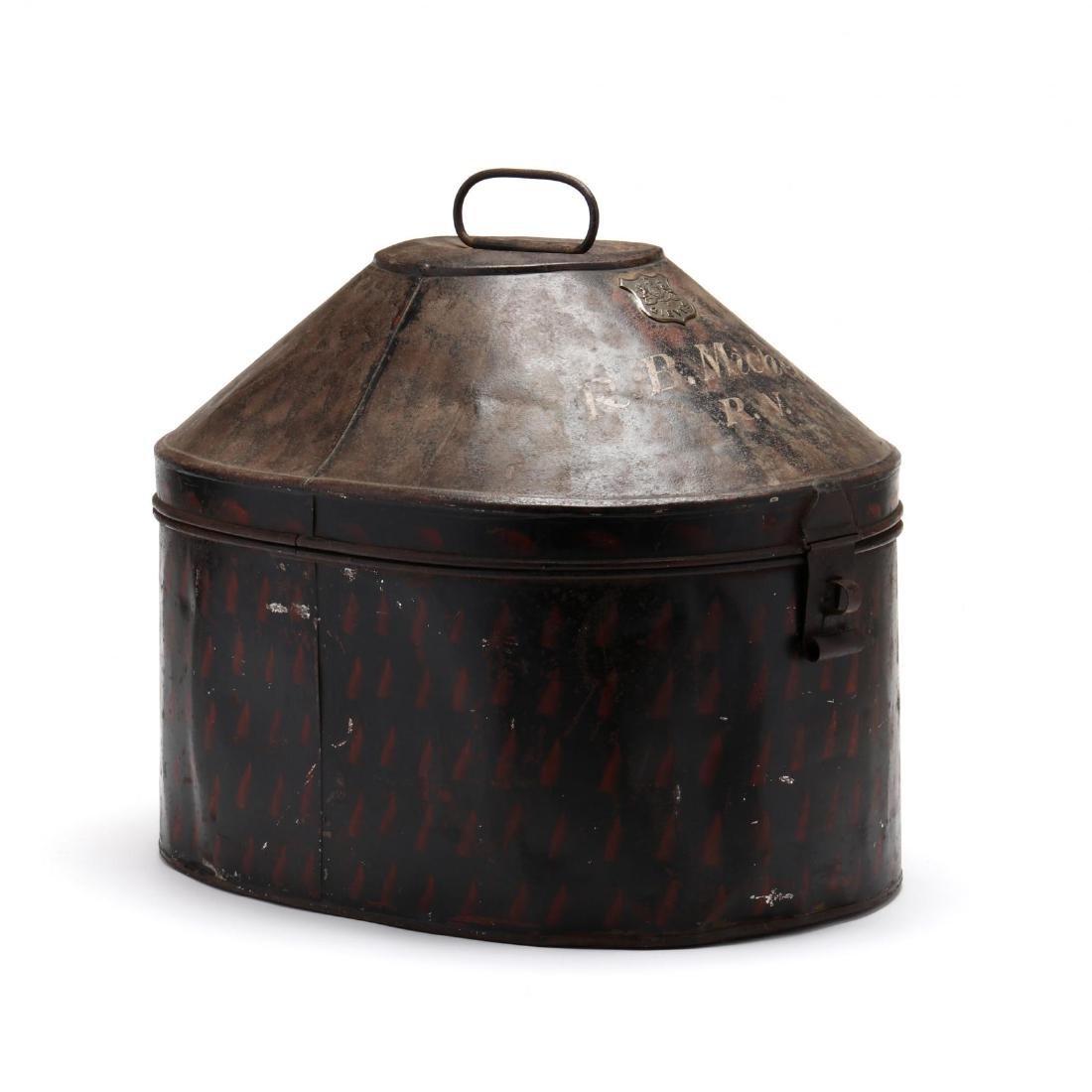Antique English Toleware Hat Box