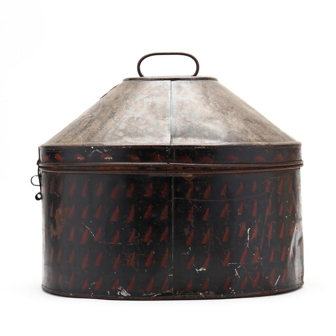 Antique English Toleware Hat Box - 3