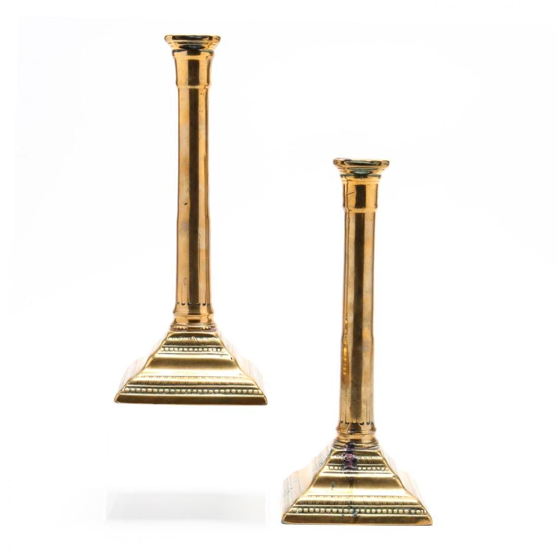 Pair of Antique Brass Candlesticks - 2