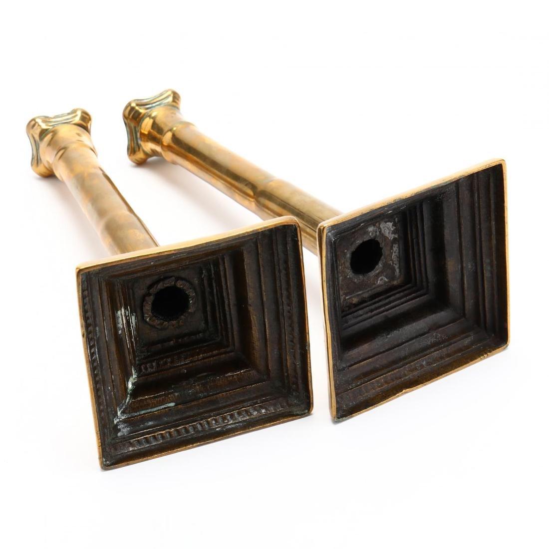 Pair of Antique Brass Candlesticks - 4