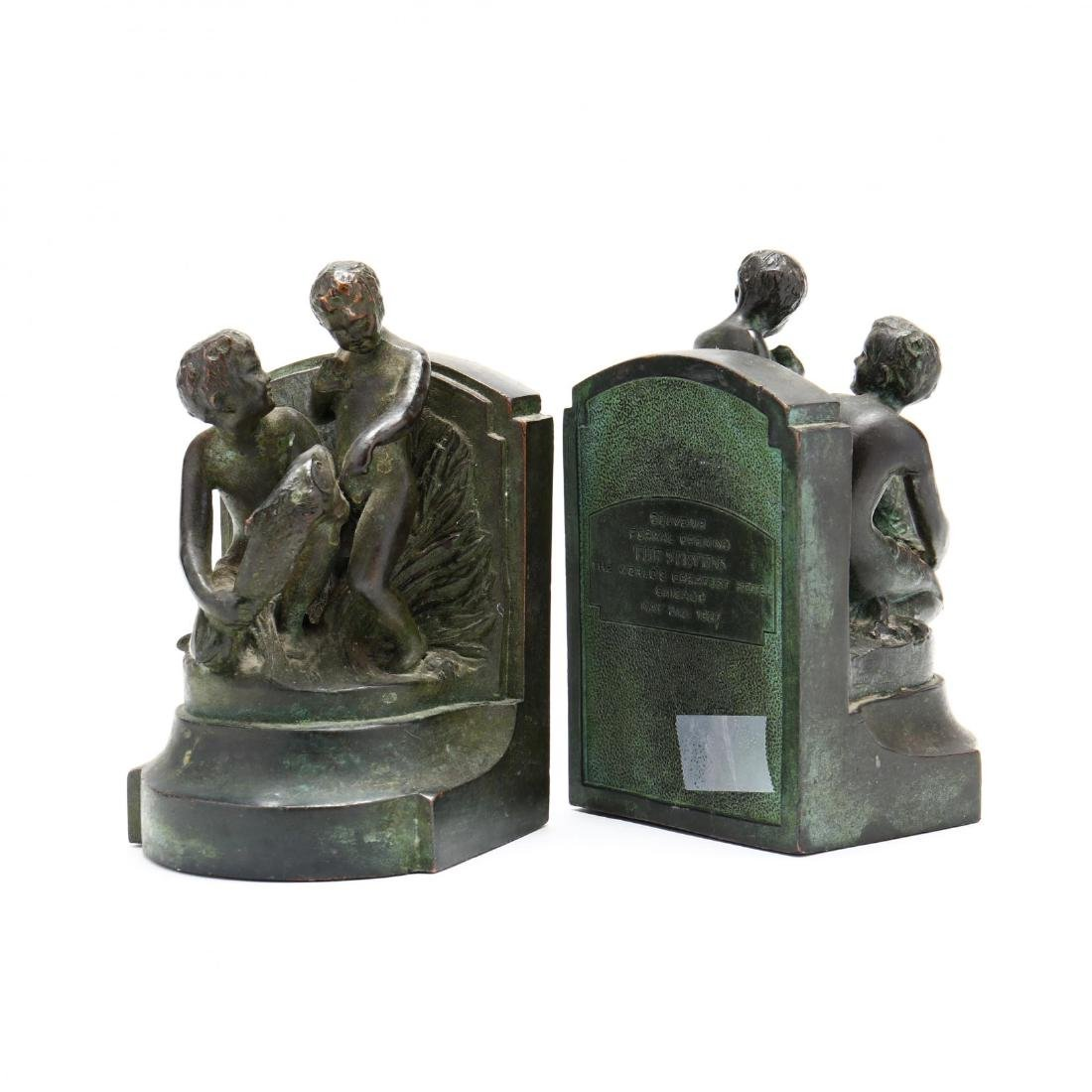 "Vintage Bronze Tone Souvenir Bookends from ""The - 2"