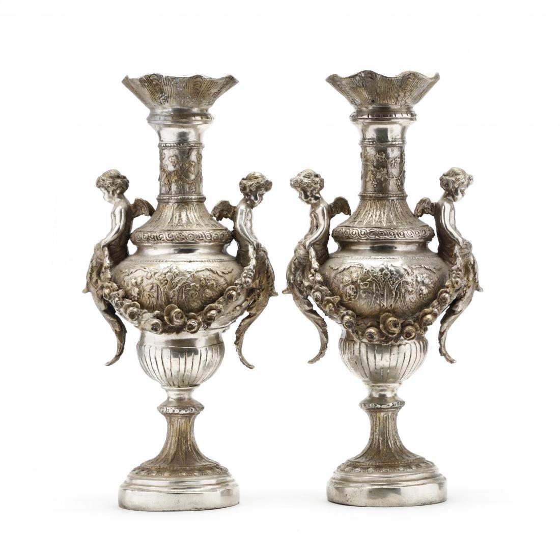 A Pair of Silvertone Renaissance Revival Style Urns