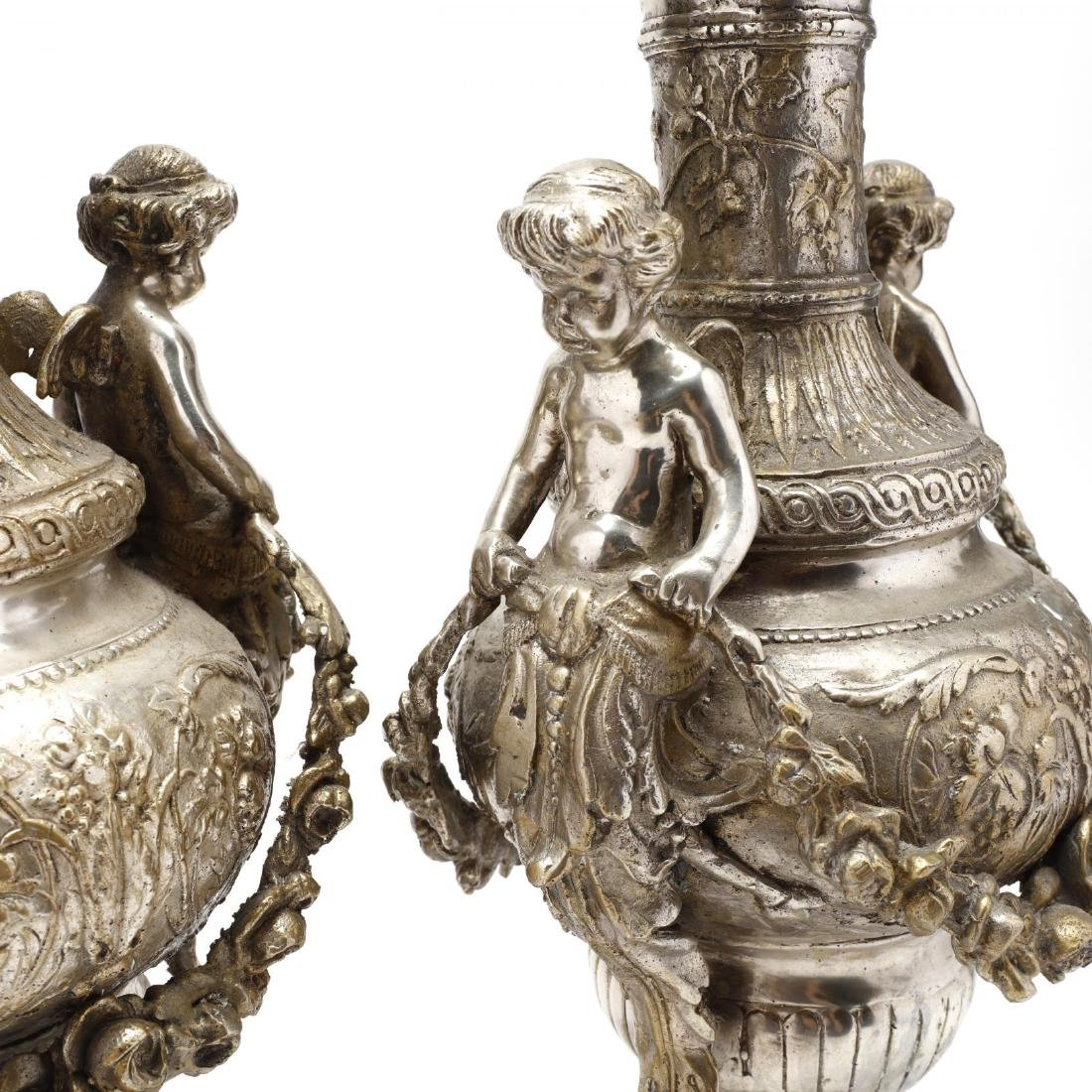 A Pair of Silvertone Renaissance Revival Style Urns - 3