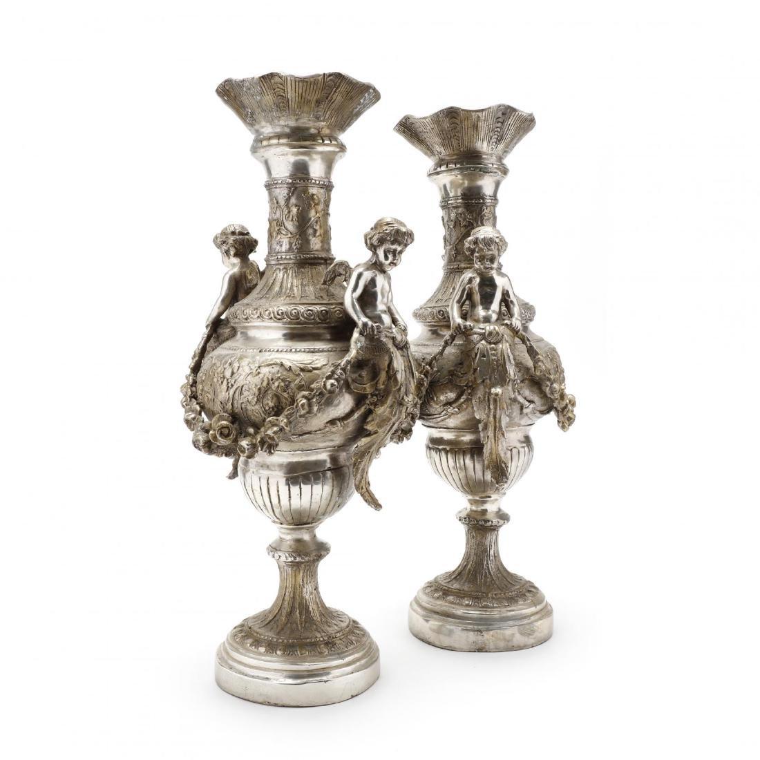 A Pair of Silvertone Renaissance Revival Style Urns - 5