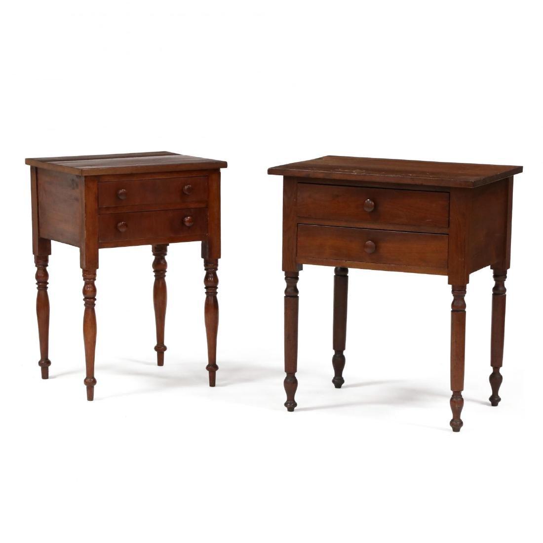 Two Sheraton Walnut Work Tables