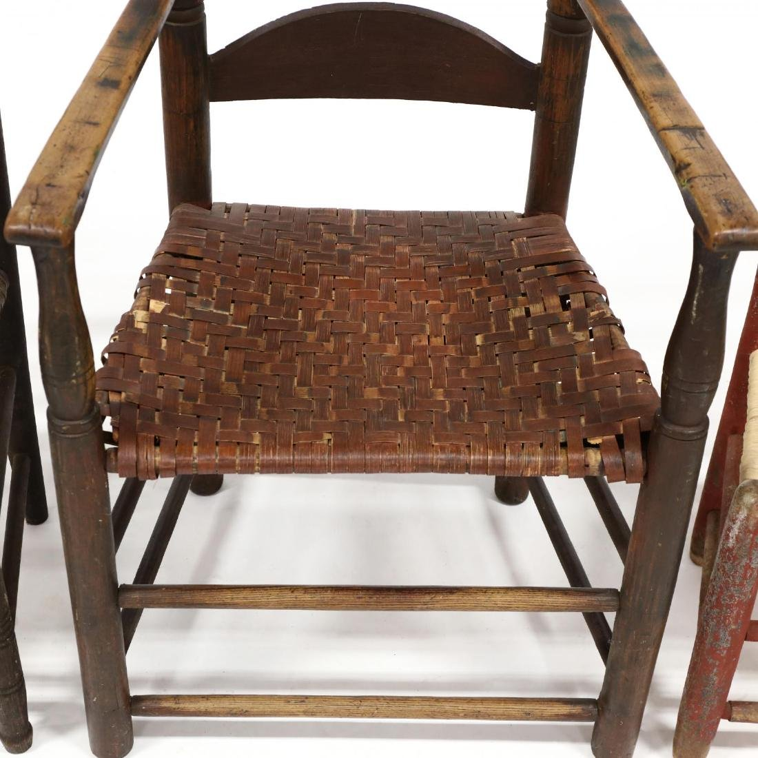 Three Antique American Ladderback Chairs - 2
