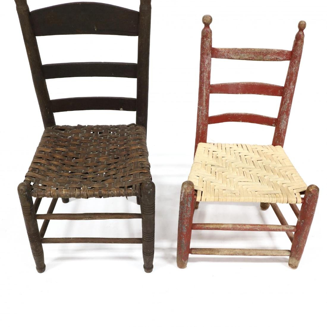 Three Antique American Ladderback Chairs - 3