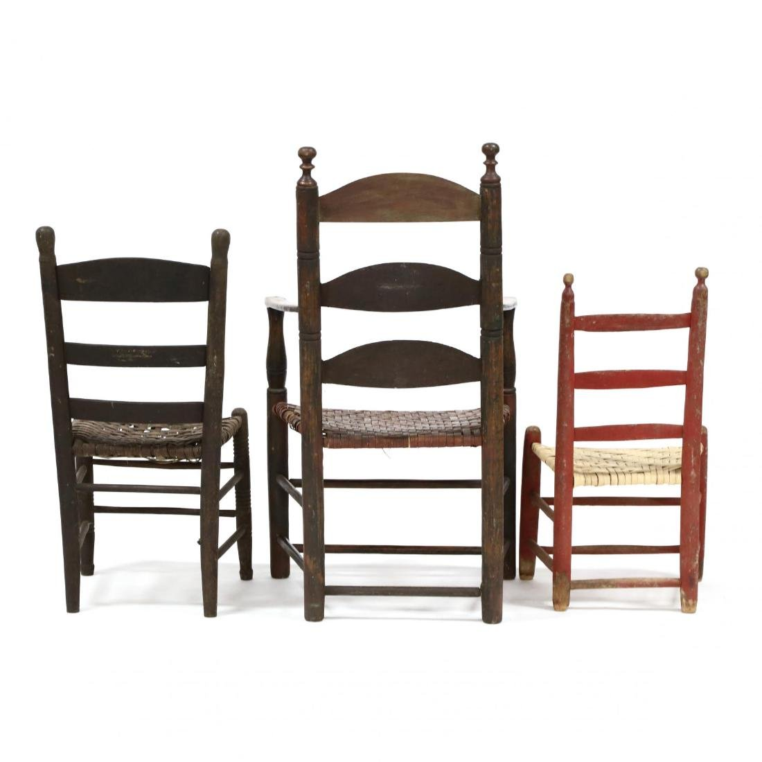 Three Antique American Ladderback Chairs - 4