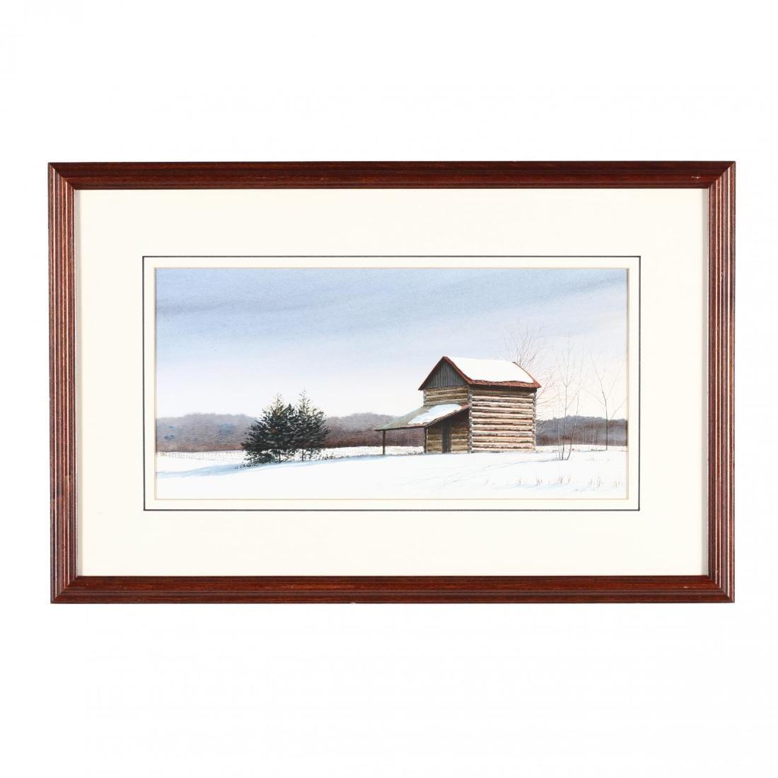 Douglas Cave (NC), Winter Landscape with Tobacco Barn