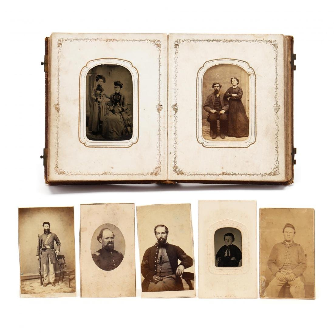 1860s Family CDV Album With Four Union Soldier
