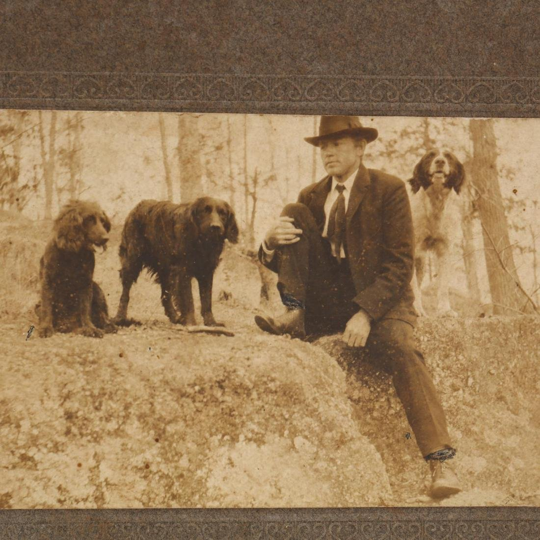 Five Antique Photographs of People With Dogs - 8