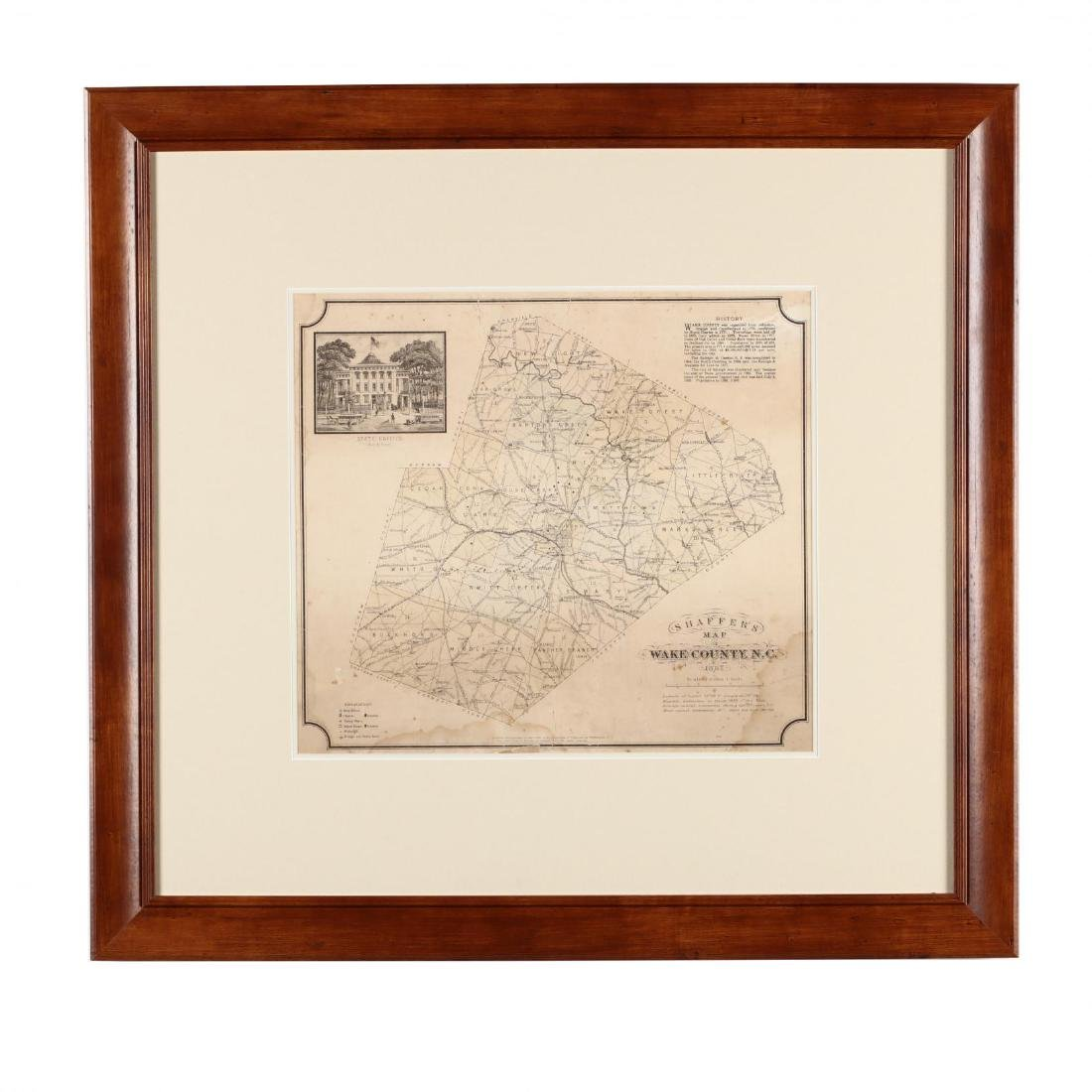Antique Framed Map of Wake County, NC