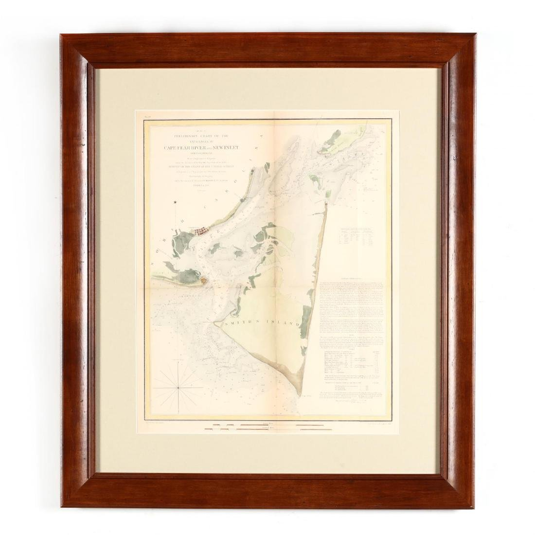 Antique Framed Map of the Cape Fear River and New