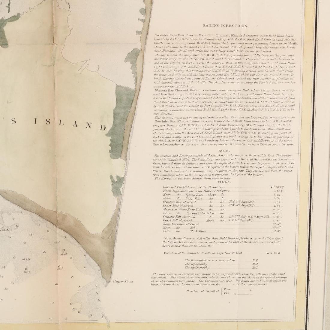 Antique Framed Map of the Cape Fear River and New - 3