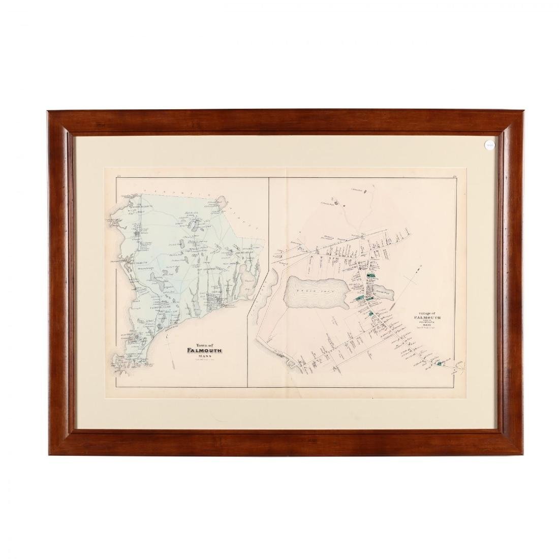 Antique Framed Map of Falmouth, MA