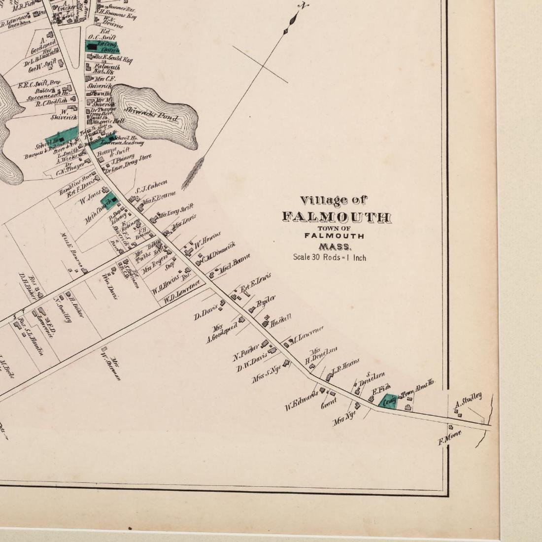 Antique Framed Map of Falmouth, MA - 2