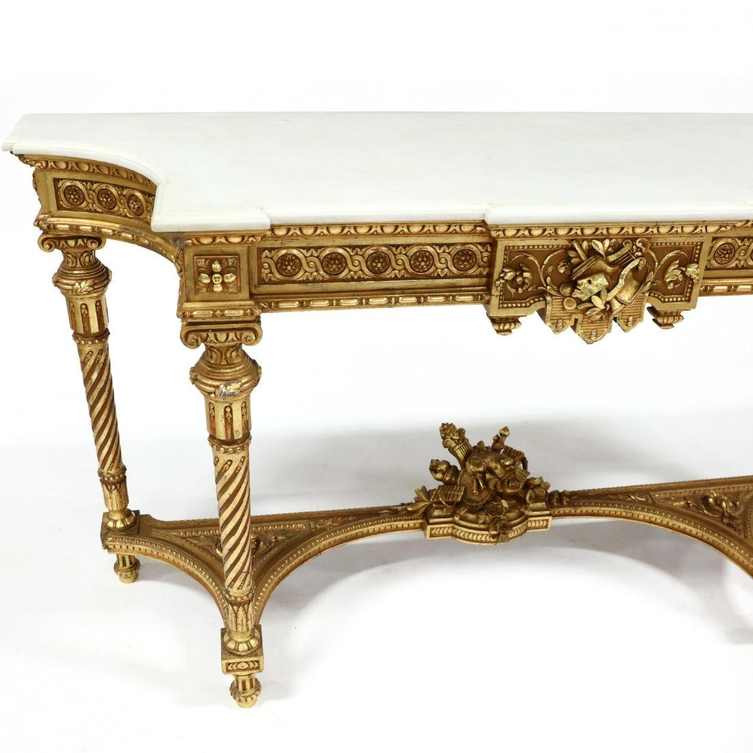 Louis XVI Style Carved and Gilt Marble Top Console - 2