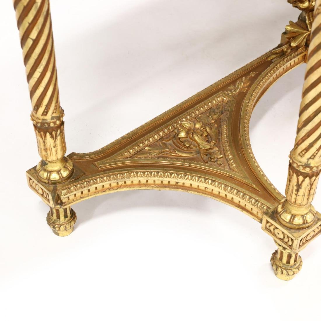 Louis XVI Style Carved and Gilt Marble Top Console - 4