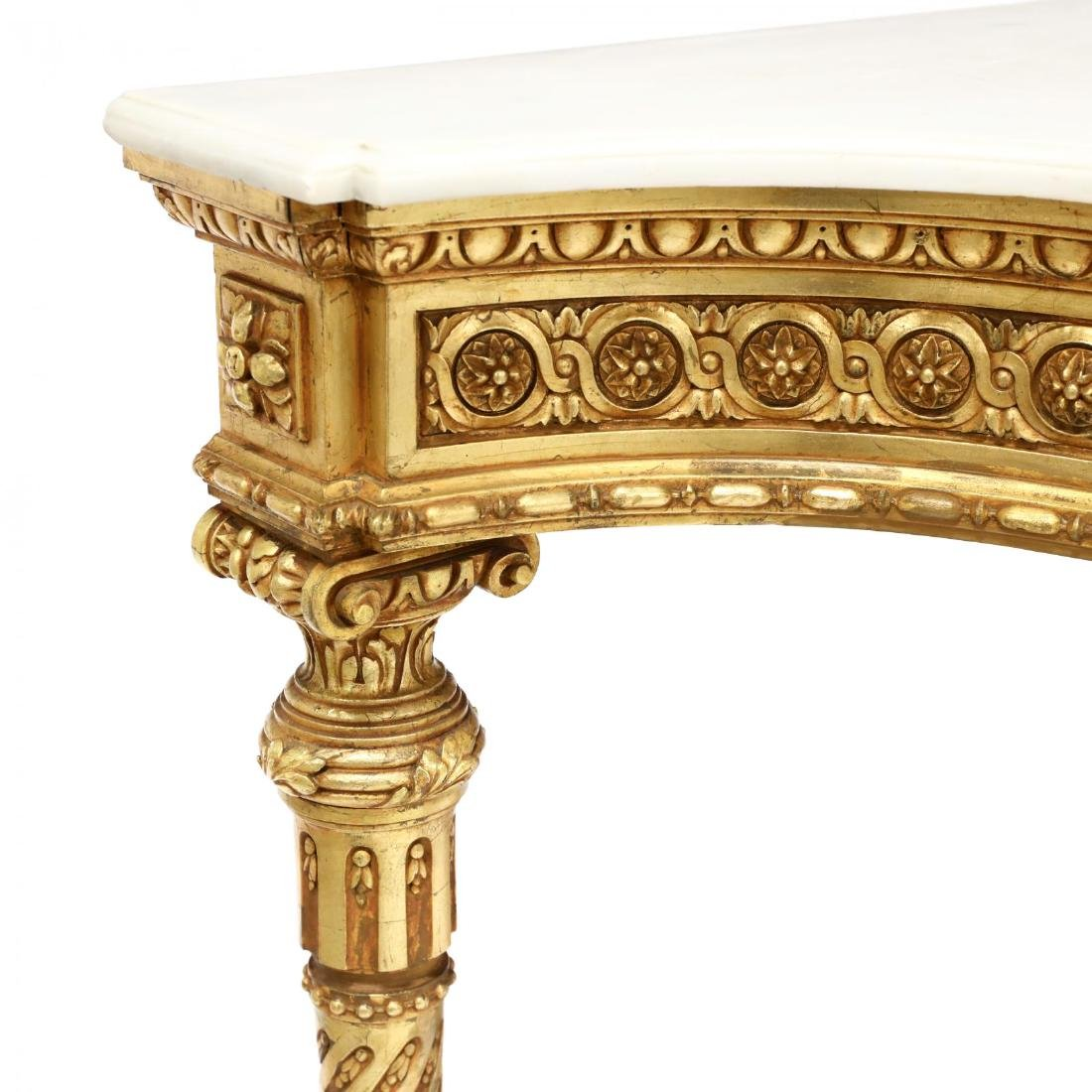 Louis XVI Style Carved and Gilt Marble Top Console - 5