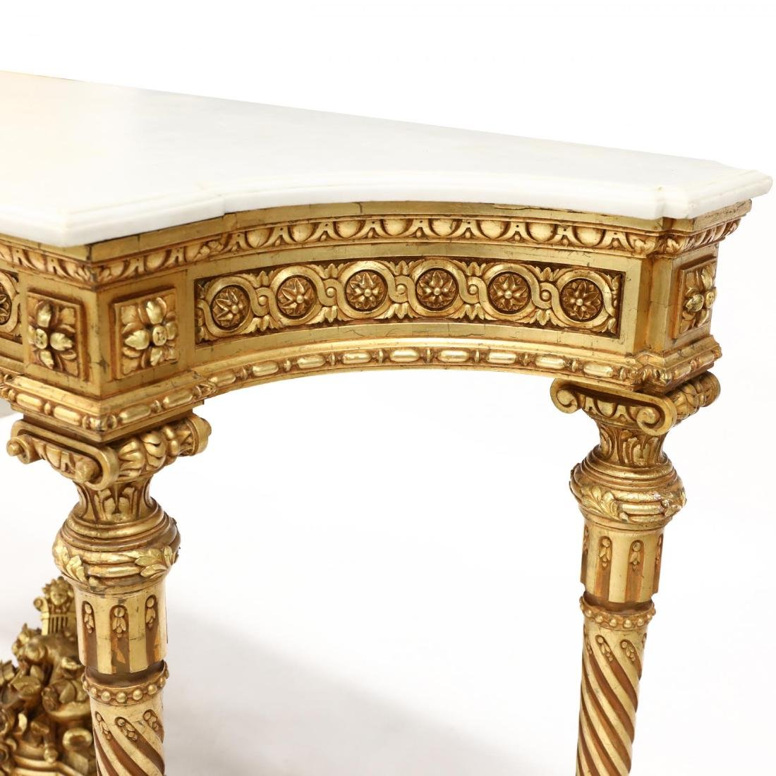 Louis XVI Style Carved and Gilt Marble Top Console - 6