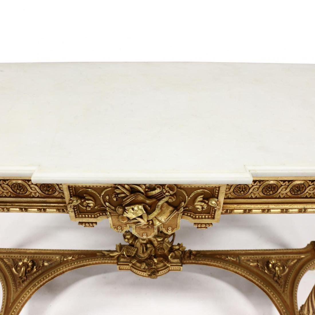 Louis XVI Style Carved and Gilt Marble Top Console - 7