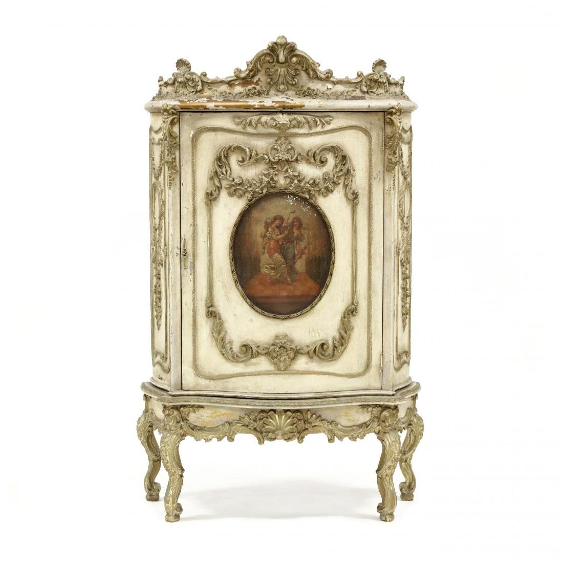 Vintage French Rococo Style Carved and Painted Cabinet