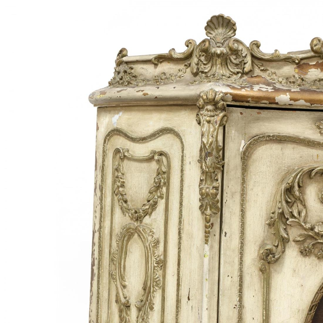 Vintage French Rococo Style Carved and Painted Cabinet - 3