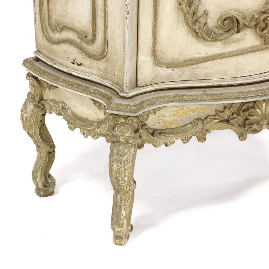 Vintage French Rococo Style Carved and Painted Cabinet - 4