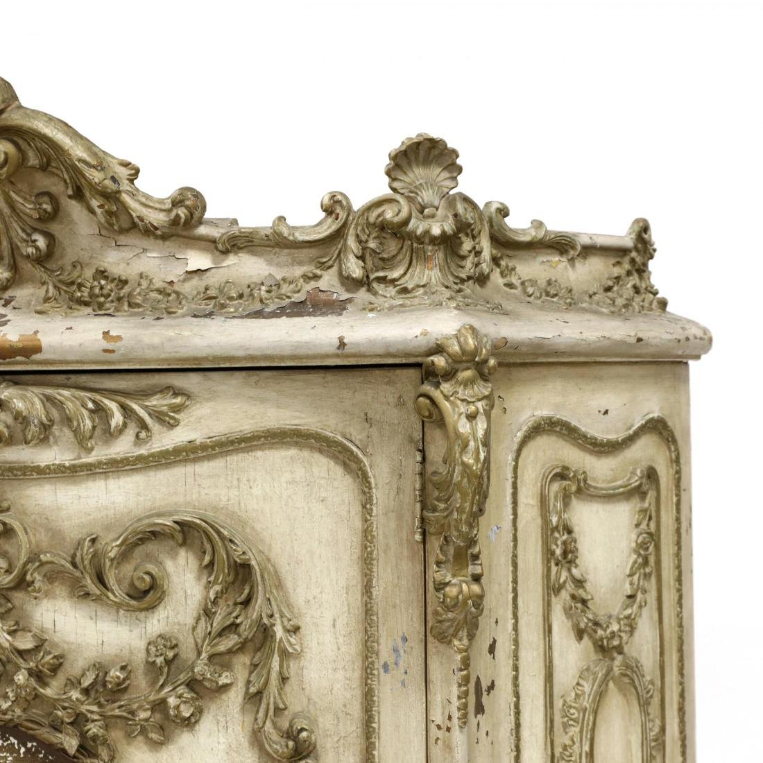 Vintage French Rococo Style Carved and Painted Cabinet - 6