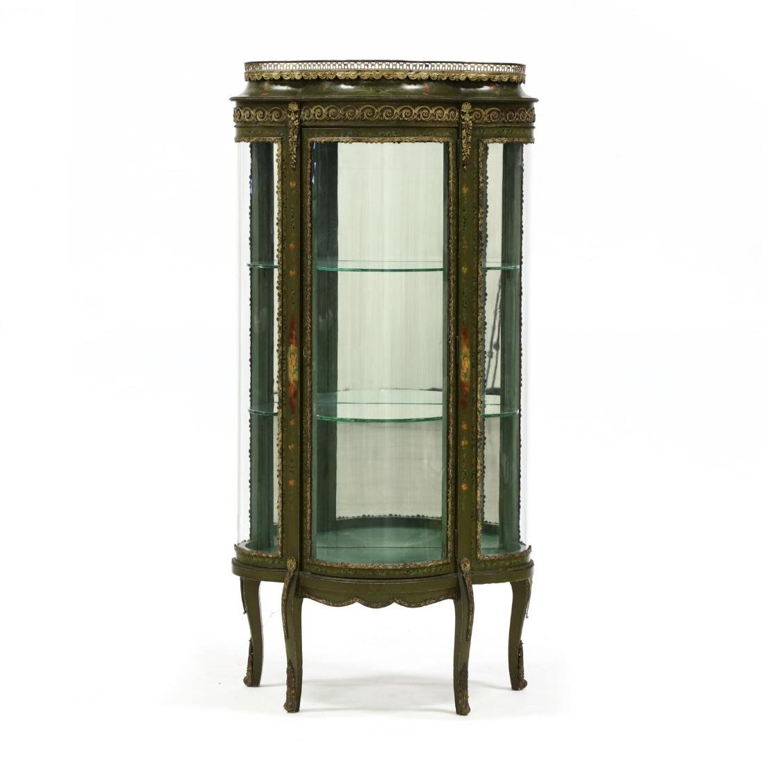 Vintage French Paint Decorated Vitrine