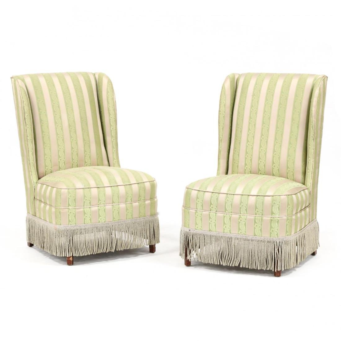 Pair of Vintage Silk Upholstered Slipper Chairs