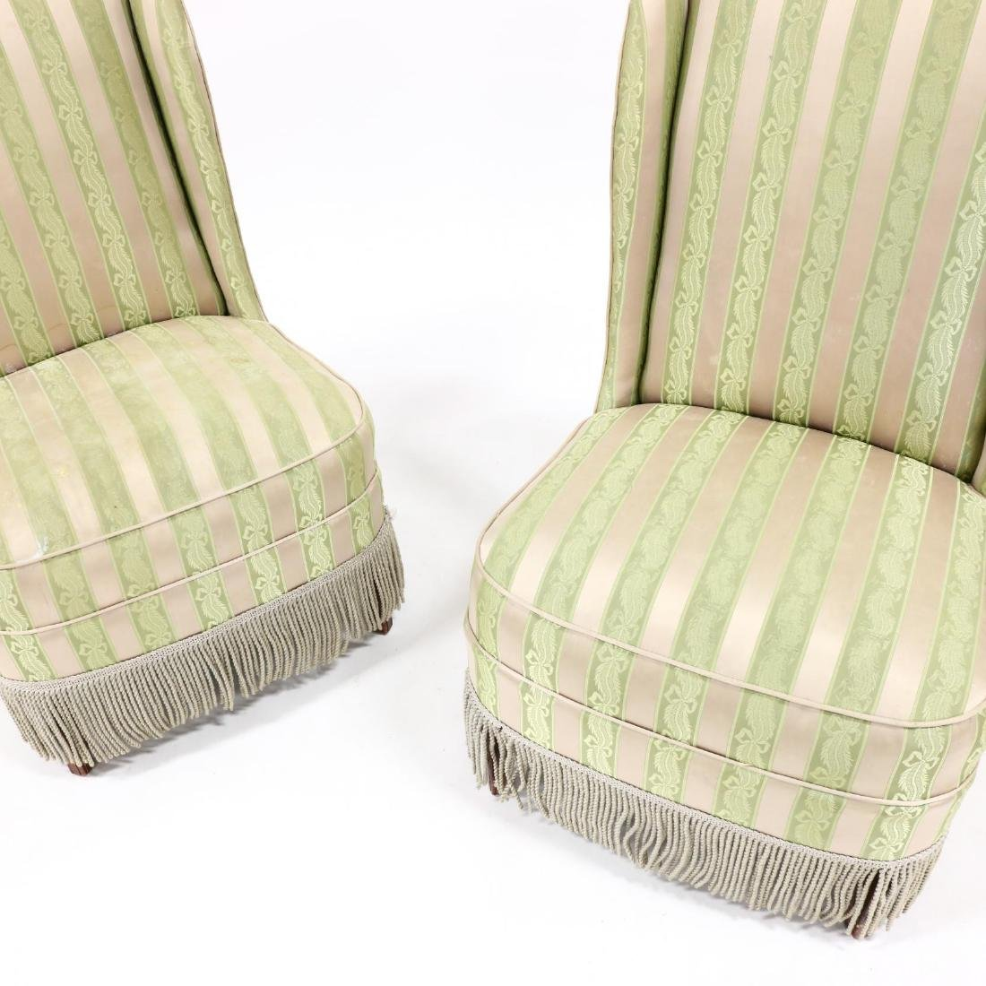 Pair of Vintage Silk Upholstered Slipper Chairs - 2