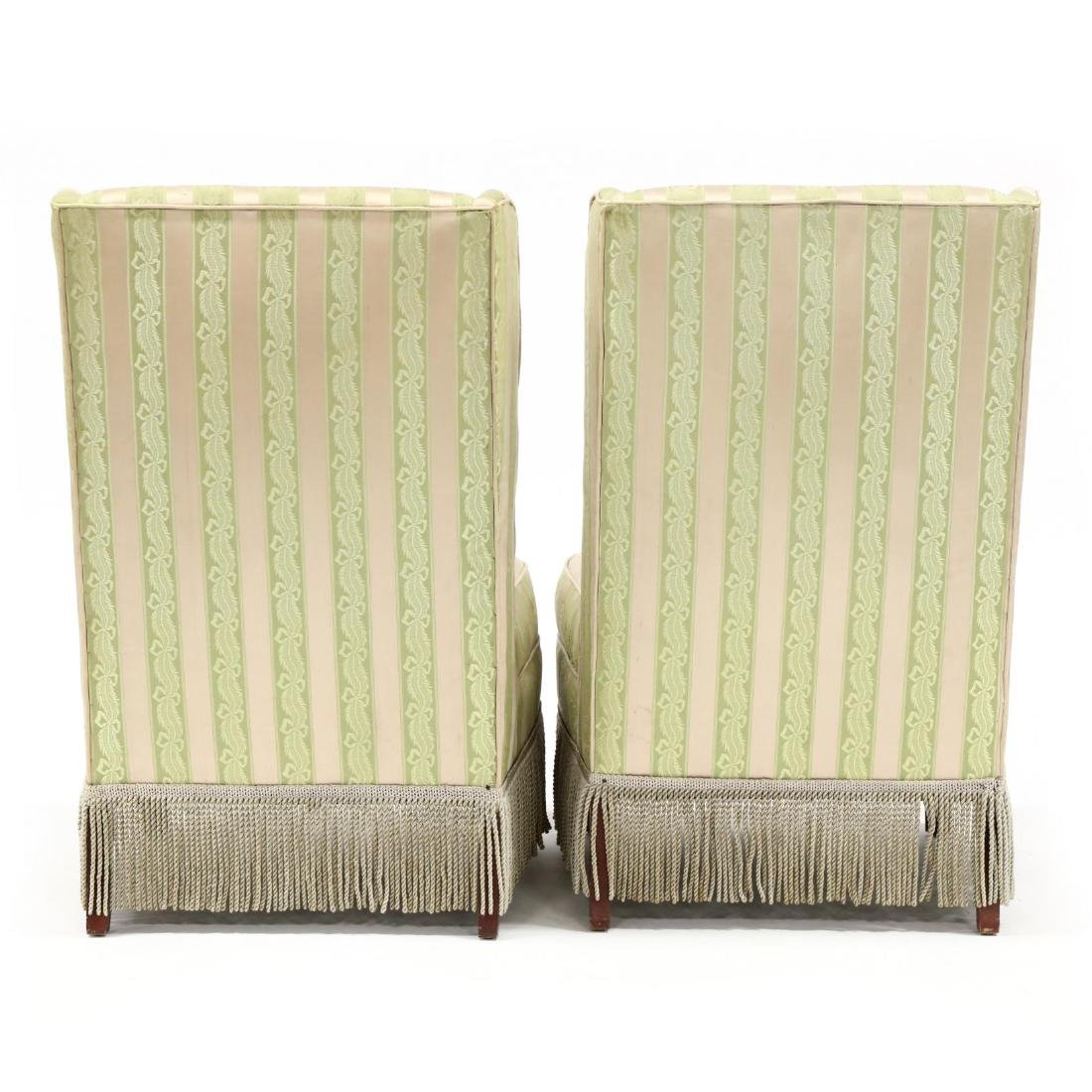 Pair of Vintage Silk Upholstered Slipper Chairs - 3