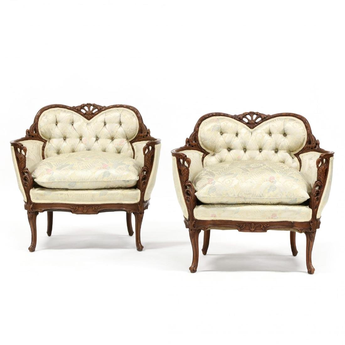 Pair of Vintage Continental Carved Boudoir Chairs