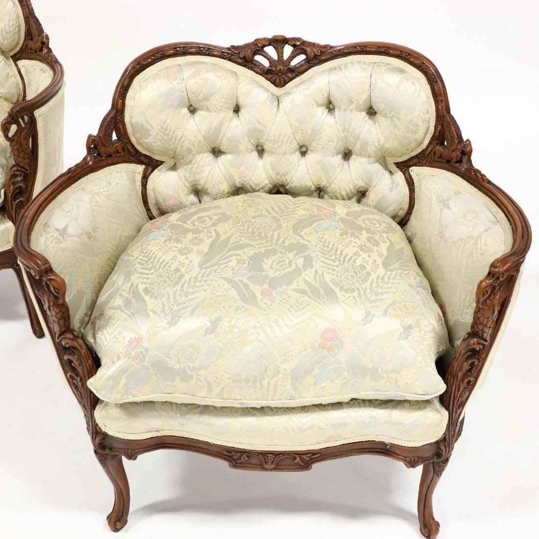 Pair of Vintage Continental Carved Boudoir Chairs - 2