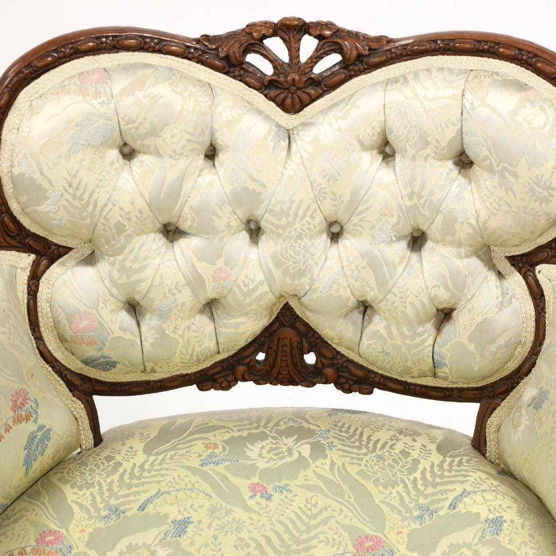 Pair of Vintage Continental Carved Boudoir Chairs - 3