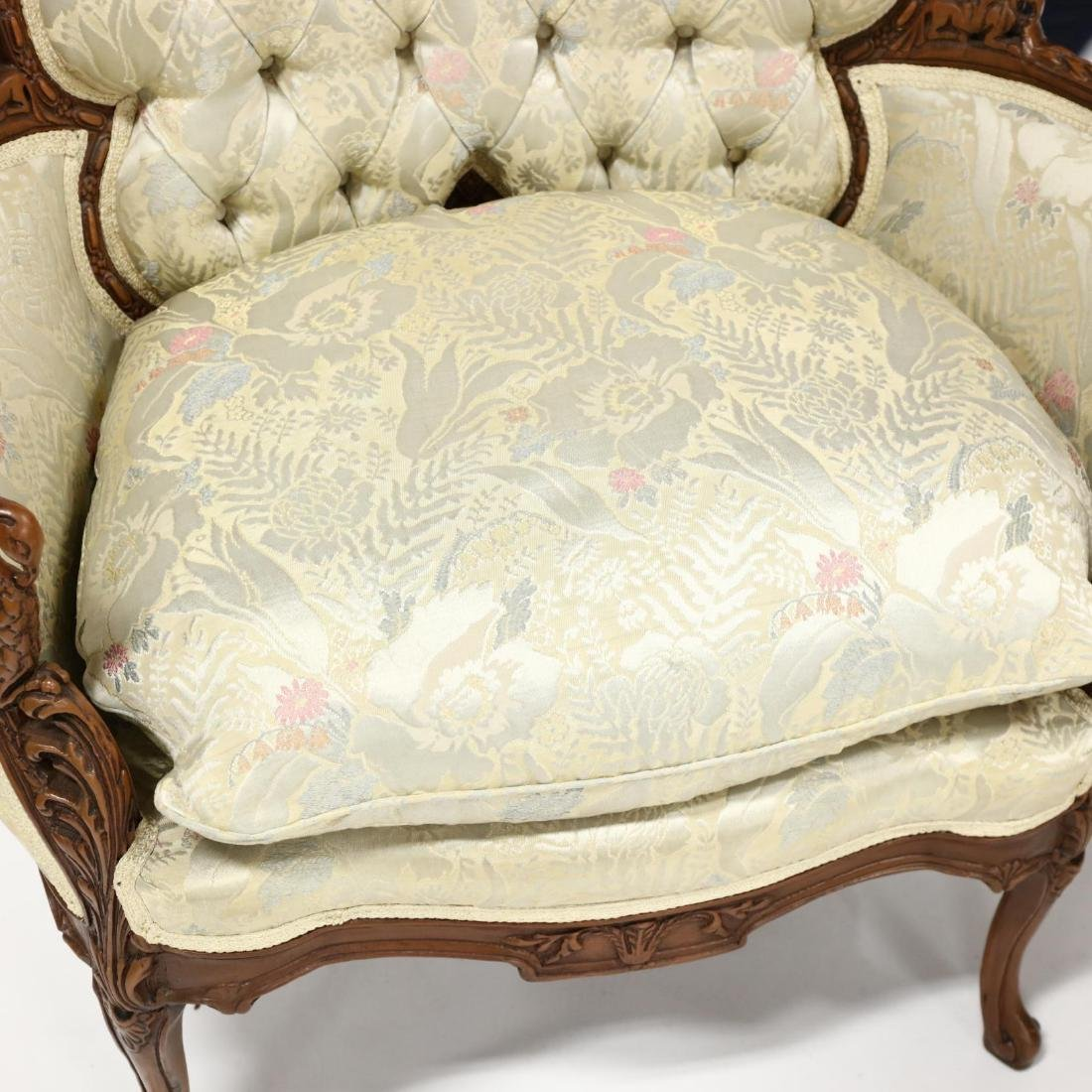 Pair of Vintage Continental Carved Boudoir Chairs - 4