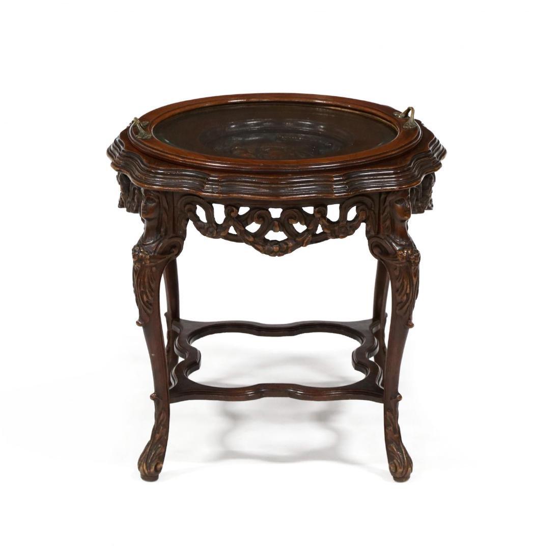 Vintage Italian Carved Walnut Figural Tray Table